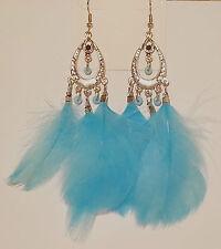 Boucles d'oreilles Pendantes Plume Bleu Perle Vintage C7