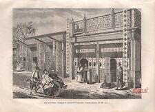 Doc.Ancien Pékin Chine pousse pousse Beijing China Rickshaw engraving 1895 - 2j