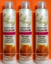 3x Shampoo COLLAGEN & Keratin + Royal Jelly Capillary Treatment Restorer 16.23oz