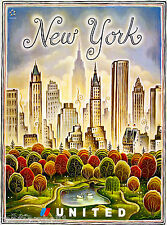New York Central Park United States Vintage Travel Advertisement Art Poster