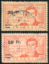 2x French Colony SENEGAL – Overprint Caillie 1944 Stamps - Used