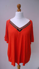 BNWT (£12) Bright Orange GEORGE Top Deep Embellished V-Neck Bell Sleeves Size 20