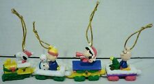 Whitmans Peanuts Snoopy Charlie Brown Lucy Linus Christmas Train PVC Ornaments