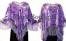 Poncho Shawl Top Silk Burnout Velvet Lavender