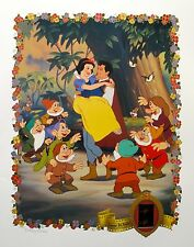 DISNEY SNOW WHITE Lithograph with Original Film Cels 35mm Frame Cells