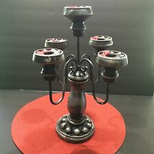 Halloween Table Candelabra OOAK Black Silver Spooky Gothic Theater Prop