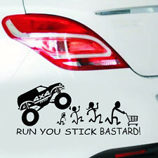 1PC RUN YOU STICK BASTARD! Black Funny Sticke Car Window Vinyl Decal Sticker