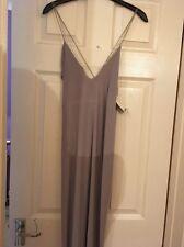 Lulu Eyelet Detail Fine Chain Maxi Dress Silver BNWT Boohoo