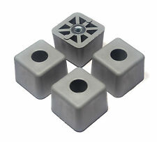 FOUR (4) LARGE GRAY CUBE SQUARE RUBBER FEET INDUSTRIAL AMPS CASES  FREE S&H  USA