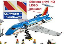 Custom Southwest Stickers for 3182 Passenger Plane Airport for LEGO 60022