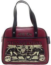 "Sourpuss ""Strange Girls"" Oxblood Red Bowler Purse Retro Pinup Rockabilly Handbag"