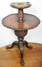 Antique DALTON HYDROASH Cigar Stand Table. 2 Tier Carved Mahogany Ashtray. RARE