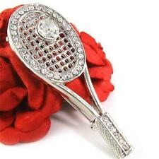Tennis Racket Ball Sports Brooch Pin Clear Crystal Stone Costume Silver Tone NEW