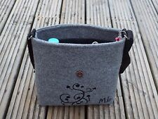 Black Floral Grey Felt Handmade Messenger Strap Shoulder Handbag Cotton Lined