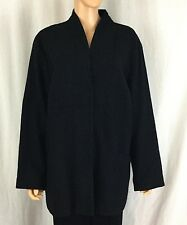 Eileen Fisher Woman 2 X Black Wool Lightweight Swing coat Jacket Snap Front