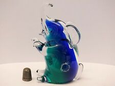 Vincenzo Nason Blue/Green Murano/ Venetian Performing Glass Elephant Paperweight
