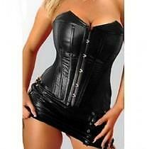 Sexy black leather corset with mini skirt size 40D Great for Halloween/Free ship