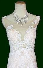 New White Jovani Sleeveless Long Evening Formal Prom Gown $450 Size 8 Homecoming