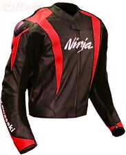 Men Red Ninja Black Kawasaki Ninja Motorcycle Racing Biker Leather Jacket hump