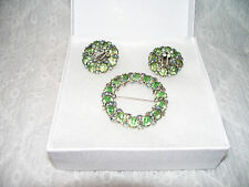 Vintage Weiss Lime Green Rhinestones Brooch Pin and Clip On Earring Set