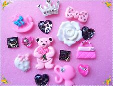 DIY Mix  Bow & Bear kaiaii bling cell phone case deco kits cabochon 15pcs