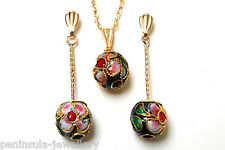 9ct Gold Black Chinese Ball Pendant and Earring Set Gift Boxed Made in UK