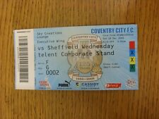 28/12/2008 Ticket: Coventry City v Sheffield Wednesday  (Sky Creations Lounge, F