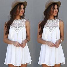 Summer Women Casual Sleeveless Evening Party Beach Dress Short Mini Dress XL
