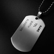 Fashion Army ID Dog Tag Military Chain Titanium Steel Pandent Silver Necklace
