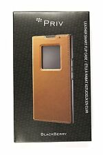 New OEM BlackBerry ACC-62173-002 PRIV Leather Smart Flip Folio Case - Tan