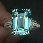 EXQUISITE! EMERALD CUT FIRE AQUA BLUE GREEN AQUAMARINE 925 SILVER RING