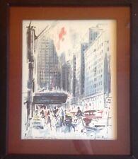 "John Haymson ""The Waldorf Astoria"" Original Watercolor Artist Signed. Framed"