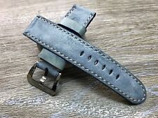 24mm straps, Handmade waxed vintage blue leather watch band for Panerai, 26mm
