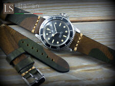 Cinturino in Pelle Bufalo Vintage ILLINOIS 20 mm Watch Strap Band Camouflage