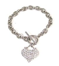 NEW Designer Inspired Chain Toggle Crystal Heart Charm Bracelet Silver-tone