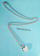 Tiffany & Co Sterling Silver Zeigfeild Puff Heart Charm on 20 Inch Bead Necklace