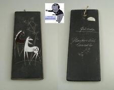 # Ruscha Wandplatte 734 Panton Era Emailmalerei Pferde Handarbeit 60ties #