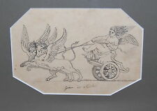 French 19th Century Architect Decoration Drawing Paper Genie des Mislires