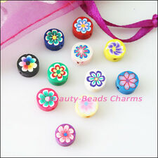 35Pcs Mixed Handmade Polymer Fimo Clay Flower Flat Spacer Beads Charms 8mm