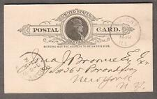 1890 Jefferson postal card Bank Of Dwight IL to New York/PO NY 7-1A 2 cancel