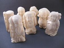 Boxed Set of Carved  Asian Chinese Seven Lucky Gods Mini Figurines #G18
