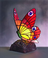 Large Red And Orange Tiffany Butterfly Table Lamp -BF11
