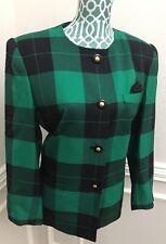 VTG 80s $160 Womens Le Suit Jacket Blazer 14 Petite 14P Green Plaid St. Patricks
