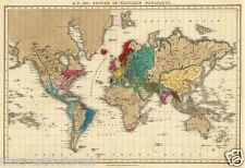 EMPIRE OF NAPOLEON, Vintage World Map Reproduction Rolled CANVAS PRINT 34x24 in.