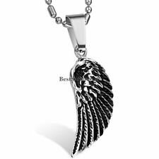 Stainless Steel Black Silver Feather Angel Wing Men's Women's Pendant Necklace