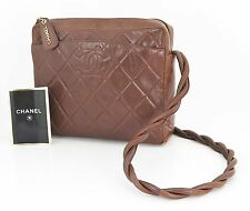Authentic CHANEL Brown Quilted Lambskin Leather Shoulder Bag Purse #23312
