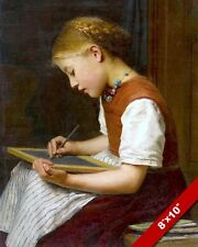 YOUNG GIRL CHALK BOARD SCHOOL WORK PAINTING CHILD CHILDREN KIDS ART CANVAS PRINT