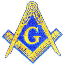 FREEMASON MASONIC  SQUARE AND COMPASSES MASON EMBROIDERED BLUE GOLD PATCH NEW