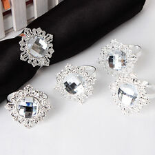 100 White Diamond Gem Napkin Ring Serviette Holder Wedding Party Decor Craft New