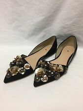 J.Crew Collection Sloan flower sequin d'Orsay flats Black Size 8 $298 E1081 NEW